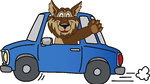 226716-Royalty-Free-RF-Clipart-Illustration-Of-A-Wolf-School-Mascot-Waving-And-Driving-A-Car