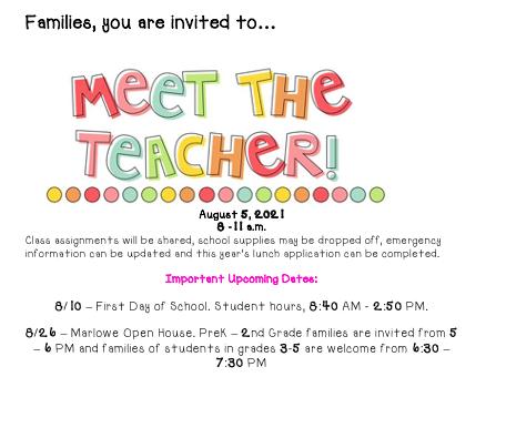 Meet the Teacher_August 5th 8-11 a.m.